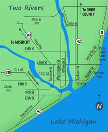 two rivers wisconsin map Find Us
